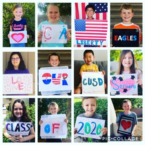 Pictures of Liberty Students Honoring CUSD Senior Class of 2020