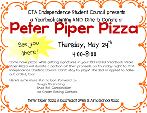 Peter Piper Pizza Yearbook Signing 4-8pm at Alma School and Queen Creek Road