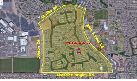 School Boundary Map which is south of Ocotillo Rd west of Alma School Rd north of Chandler Heights Rd and east of Dobson Rd.