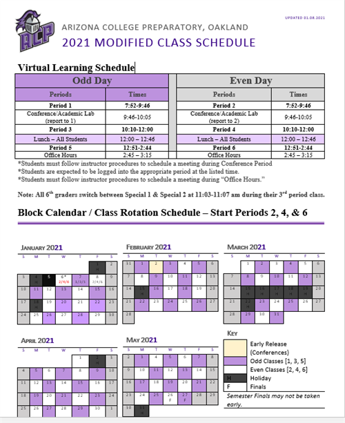 Modified 2021 Bell Schedule