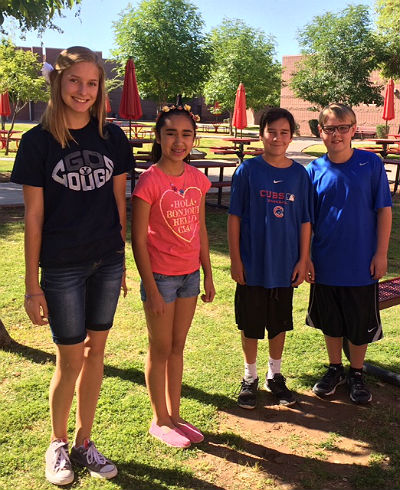AzSEF Science Fair Winners Alyssa Cuevas, Zoe Fillmore, Maddox Doolin and Jordan Gerdes