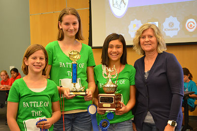 Santan Battle of the Books students, Audrey Brabson, Livia Helterbran, and Katie Leija \n (photo courtesy of Chandler Public Library)