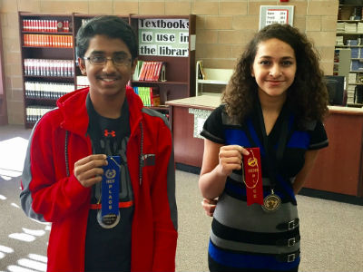 8th graders Adithya Sivakumar and Daija Harris