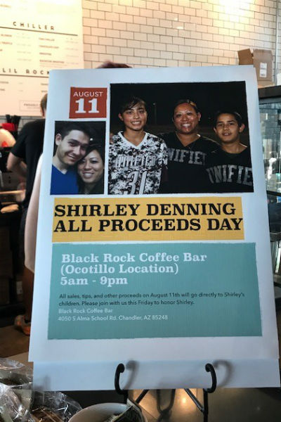 Supporting former Bobcat staff member and students, Shirley Denning and children
