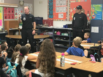 Chandler firefighters at Basha Elementary