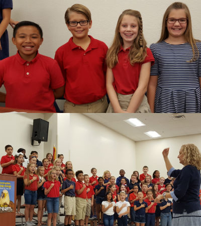 Music Teacher, Karen Sejkora, CTA Fredom 4th graders, 5th and 6th Grade Writing contest winners