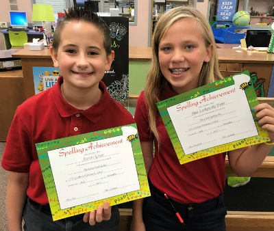 Spelling Bee Winner, Austin Green and Runner Up, Shae Laskowski-Trant