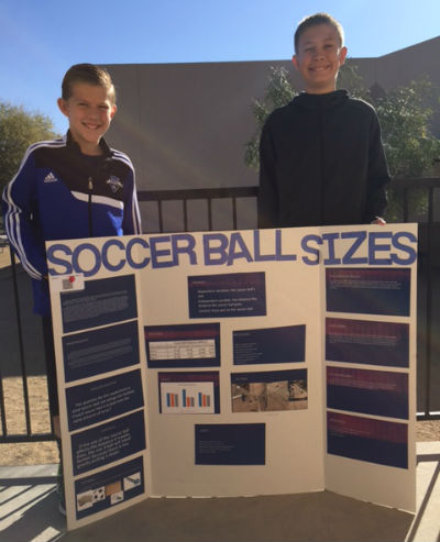 6th graders, Connor G. & Camden S. received second place in Physics for Soccer Ball Sizes