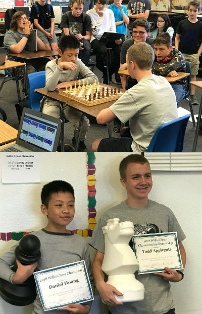 Daniel Hoang, 2017-18 Willis Chess Champion, and runner-up Todd Applegate
