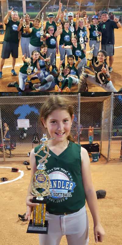 First place winners in the 12U Chandler Girls Softball tournament