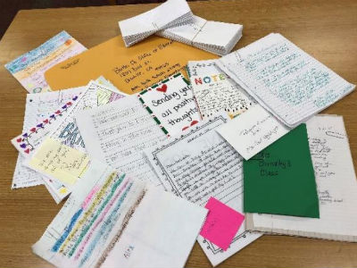 Writing letter to peers at Ponderosa and Paradise Elementary Schools in Paradise, CA