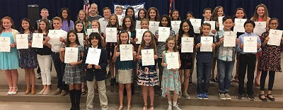 National Elementary Honor Society inductees