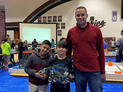 Jayden Vo and Christian Gomez of the Conley Circuit Breakers robotics team