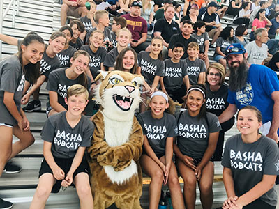 Basha Elementary Track Team with Zoomer