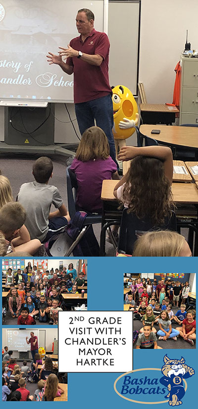 Mayor Hartke visits Basha 2nd grade classes