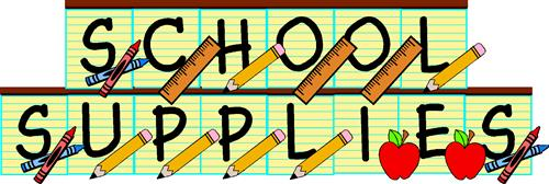 the words school supplies with pencils, rulers and apples