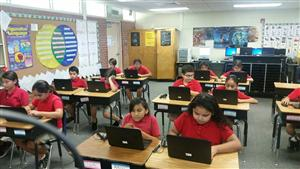 Students working on laptops.