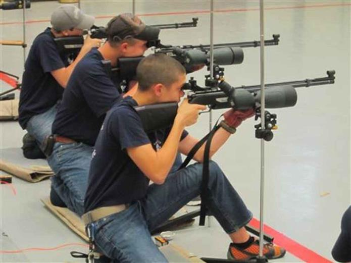 Cadets Participating in Air Rifle Marksmanship