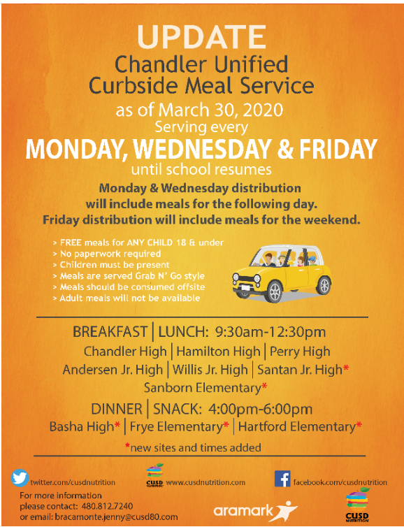 Curbside Meal Service, serving every Monday, Wednesday, and Friday until school resumes.