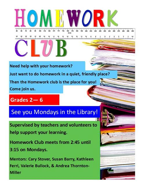 Homework Club Flyer with info and details.