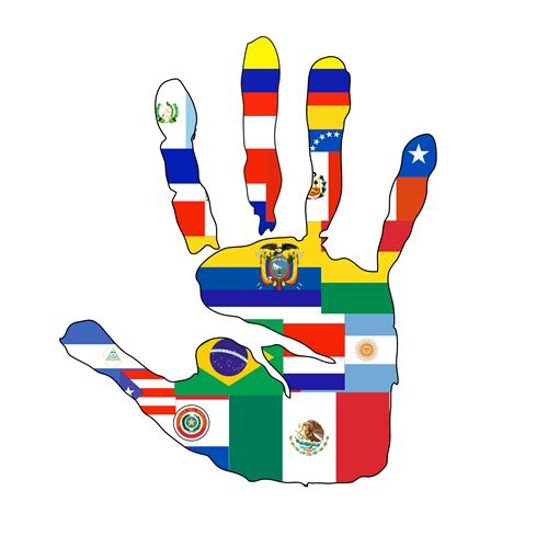 different flags in a hand