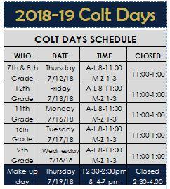 Colt Days Schedule