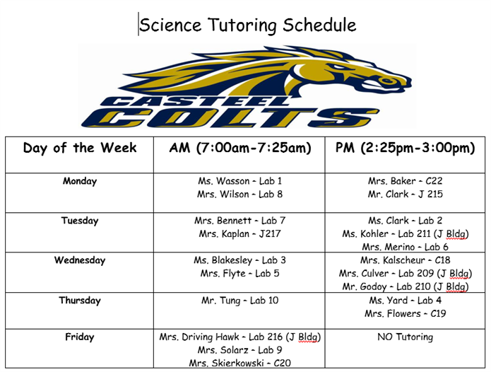 Science Tutoring Schedule