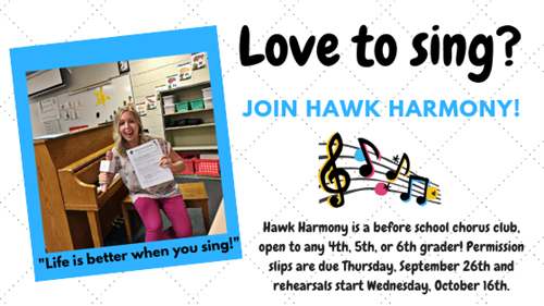 Hawk Harmony permission slips are due September 26th
