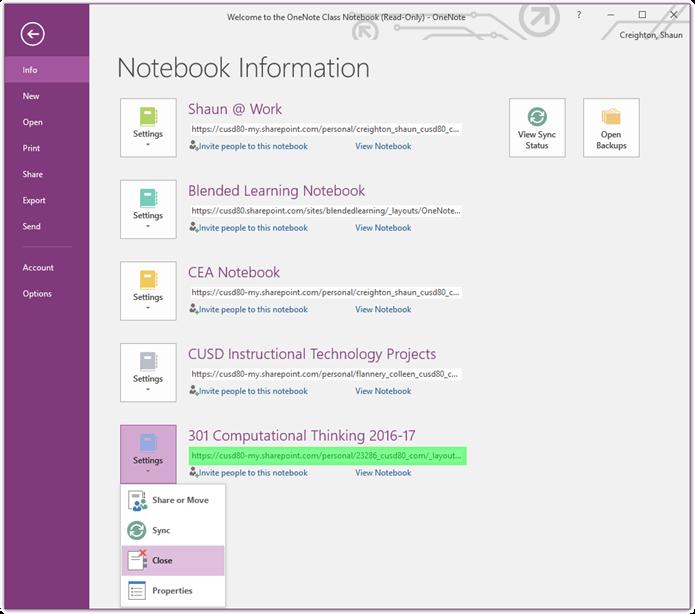 Username Change / Managing OneNote Notebooks