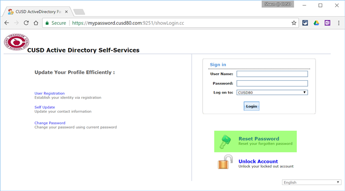 Reset Password button on Self-Service Portal login screen