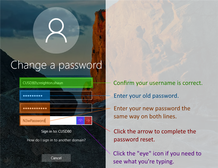 Change a password screen