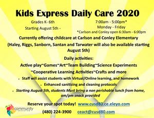 Kids Express Daily Care. Grades K- 6th Starting August 5th - until in-person instruction begins. 7:00am - 5:00pm* M-F -