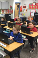 students using new laptops