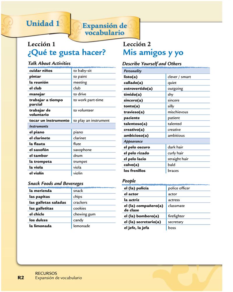 Oliden, Dana - 7 Spanish / Vocabulario