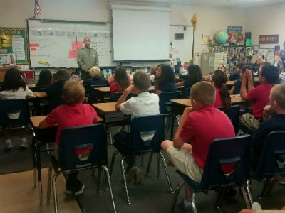Sydney Elorde, sergeant and Marine veteran, visiting our 5th grade Social Studies classes