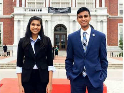 Samantha Kamath and Saahil Poonawala at the National Individual Events Tournament of Champions for Speech and Debate