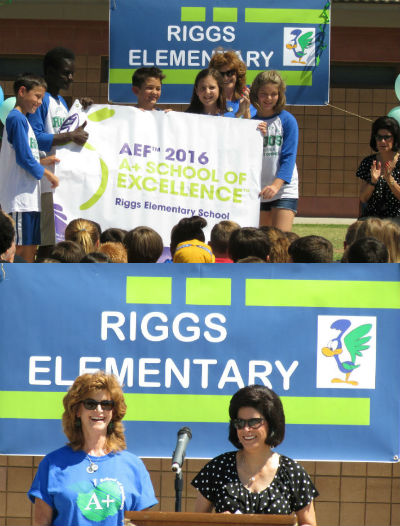 Riggs Elementary, celebrating being named A+ School of Excellence for 2016 by the Arizona Educational Foundation