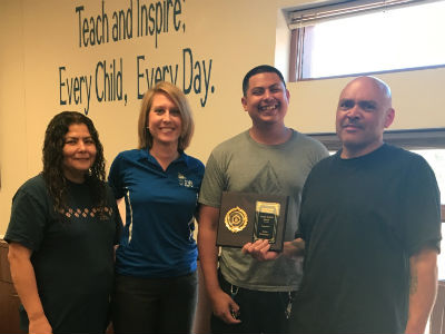 Clean School Award Recipients - Custodians Eddie Soto Jr., Eloise Navarrette, and Eddie Navarro