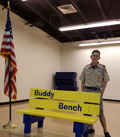 Seth Mortensen, Eagle Scout, with Buddy Bench