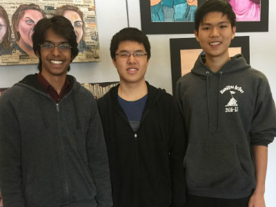 Dhruv Iyer, Zhengdong Wang, and Justin Zhu - Regional finalists for the Coca-Cola Scholars Program Scholarship