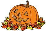 Pumpkin in leaves