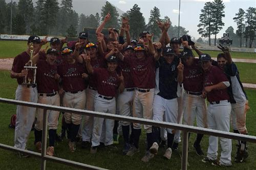 Perry celebrates its Peaks Summer Classic title in the rain and hail in Flagstaff on Sunday. PHS topped Mesquite 5-0.