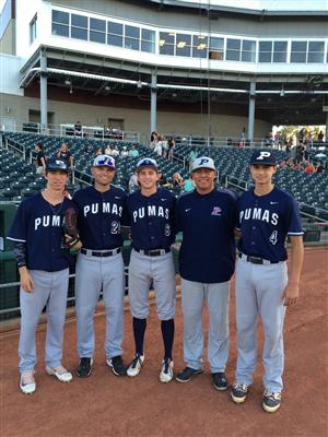 From left: Wacy Crenshaw, head coach Damien Tippett, Tayt Smith, coach Ray Mota, and bullpen catcher Logan Schwenke.