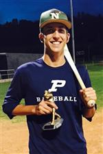 Senior Beau Brieske poses with his Home Run Derby trophy at the Peaks Summer Classic Friday night.