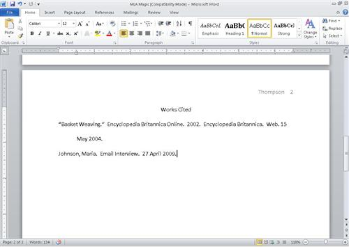 how to write a work cited for a website
