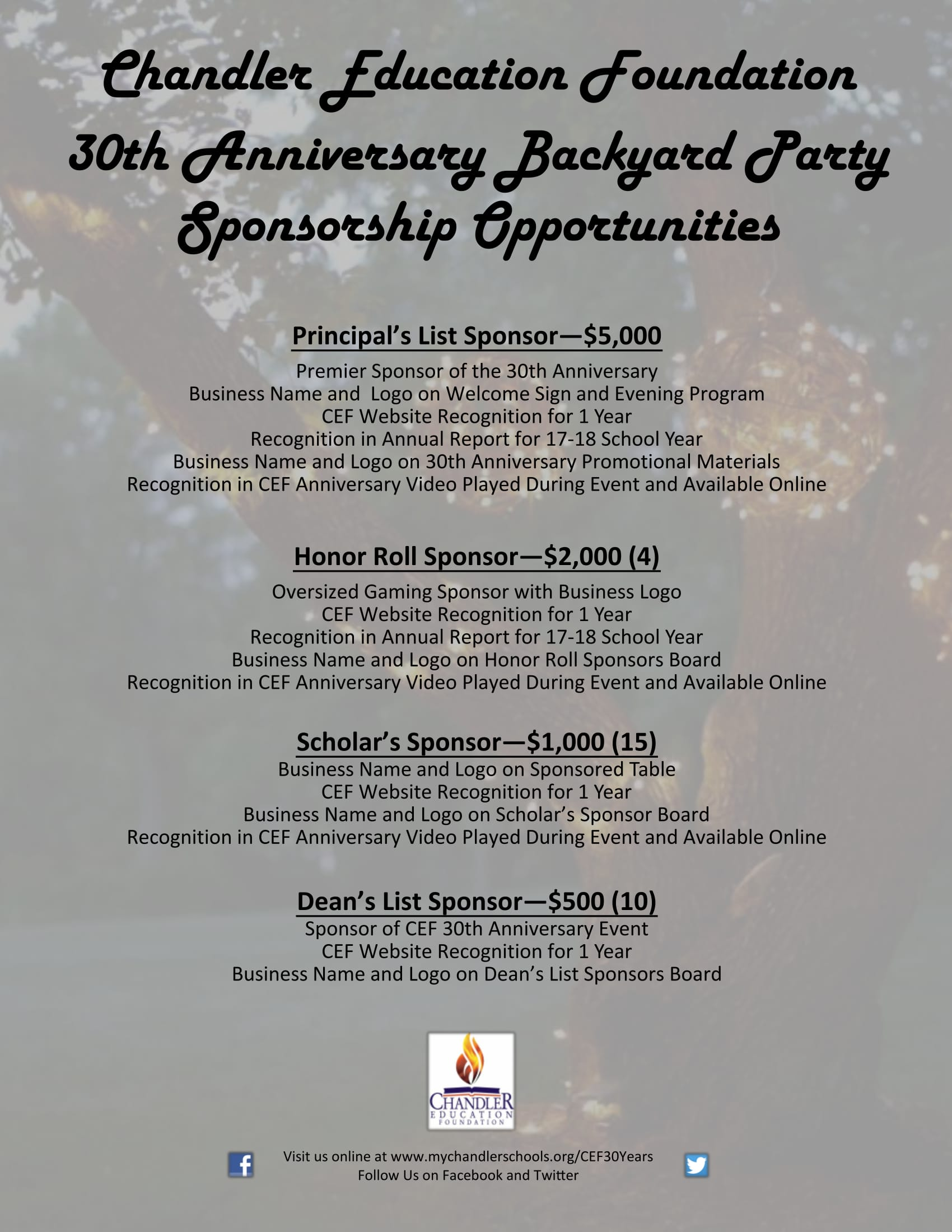 30th Anniversary Sponsorship Opportunities